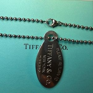 """Return to Tiffany"" Oval Dog Tag Necklace 18"""